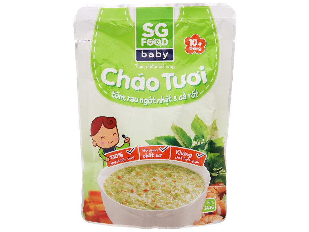 Cháo tươi tôm rau ngót nhật và cà rốt SG Food gói 240g 2
