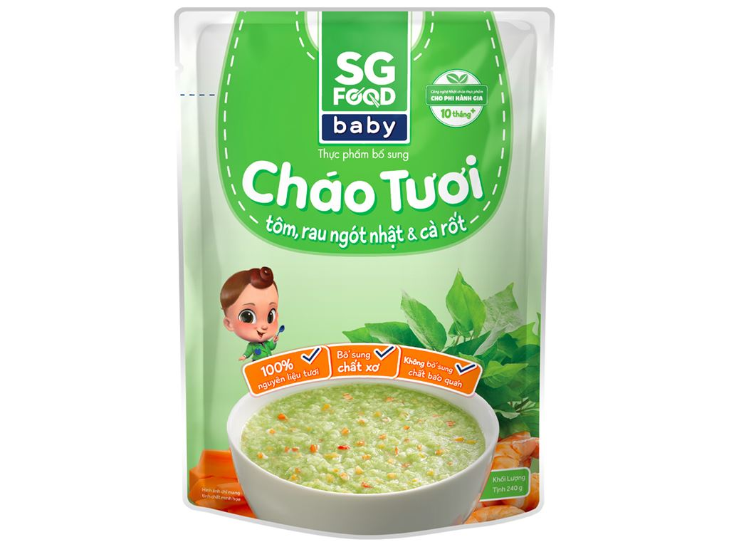 Cháo tươi SG Food Baby tôm, rau ngót Nhật và cà rốt gói 240g 1