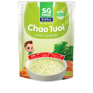 Cháo tươi SG Food Baby cá hồi và cải bó xôi gói 240g
