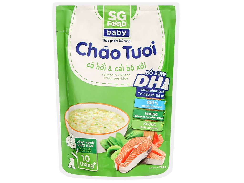 Cháo tươi SG Food Baby cá hồi và cải bó xôi gói 240g 1