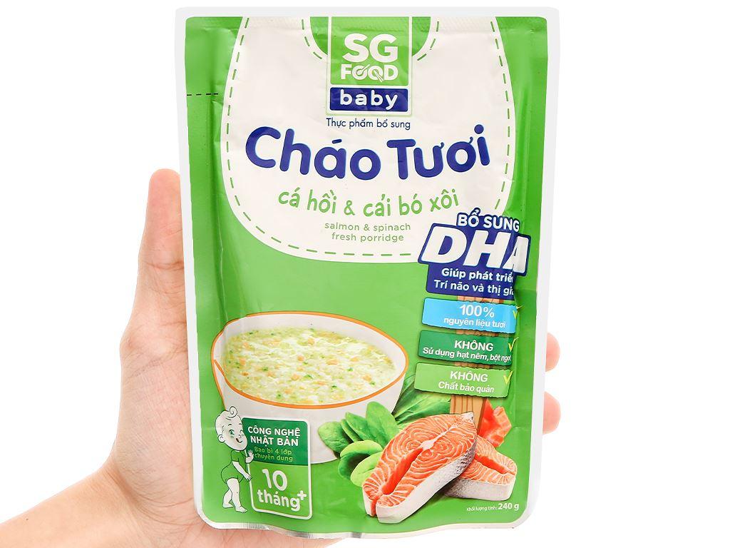 Cháo tươi SG Food Baby cá hồi và cải bó xôi gói 240g 4