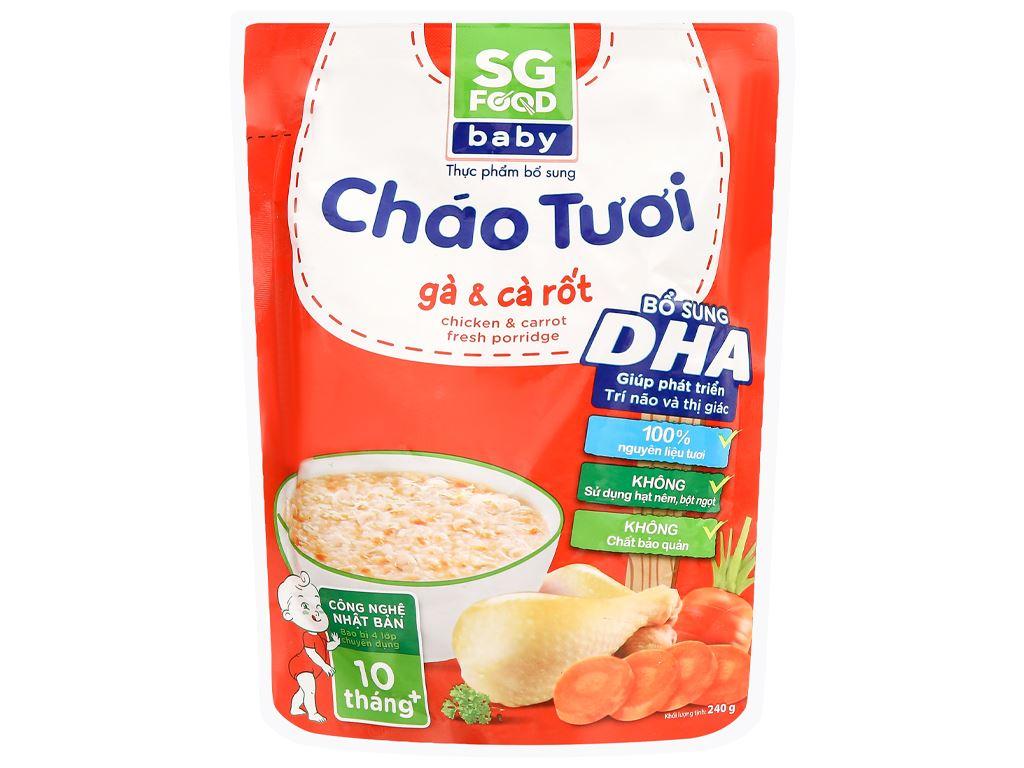 Cháo tươi SG Food Baby gà và cà rốt gói 240g 1