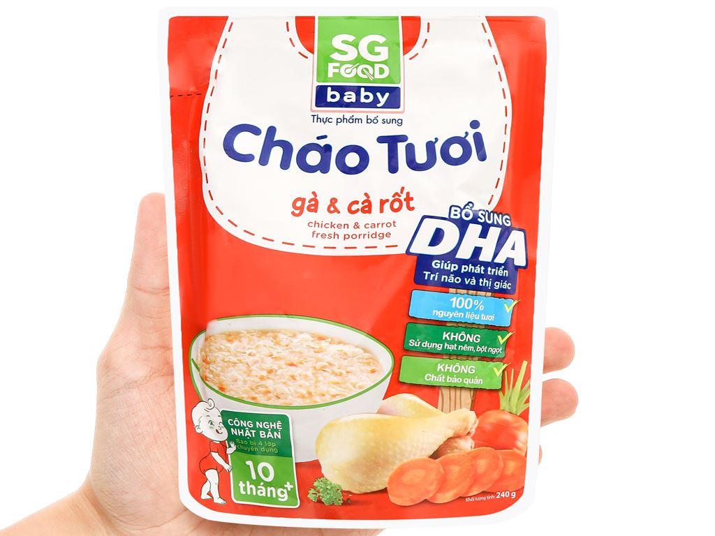 Cháo tươi SG Food Baby gà và cà rốt gói 240g 4