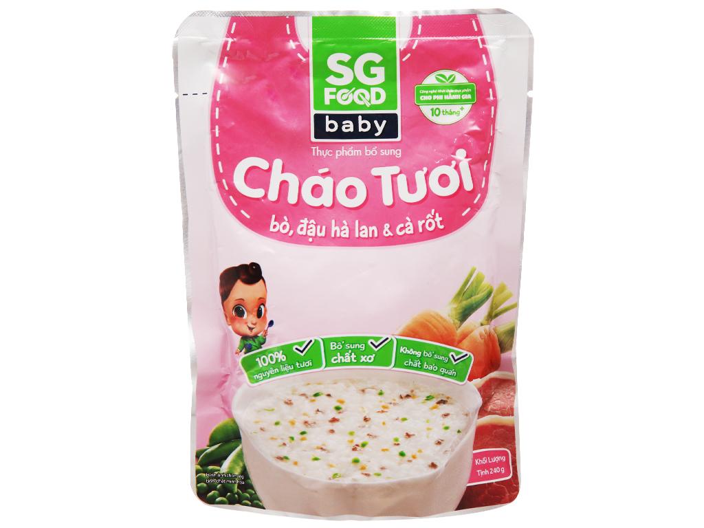 Cháo tươi bò đậu hà lan cà rốt SG Food gói 240g 2