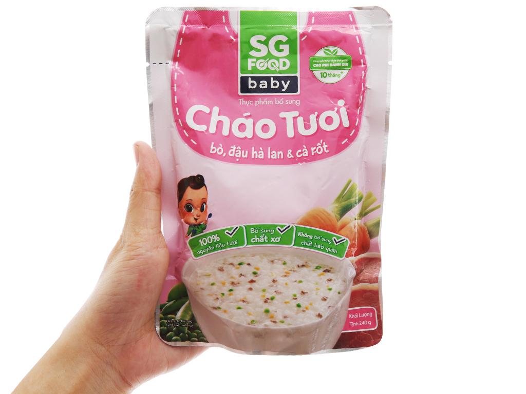 Cháo tươi bò đậu hà lan cà rốt SG Food gói 240g 3