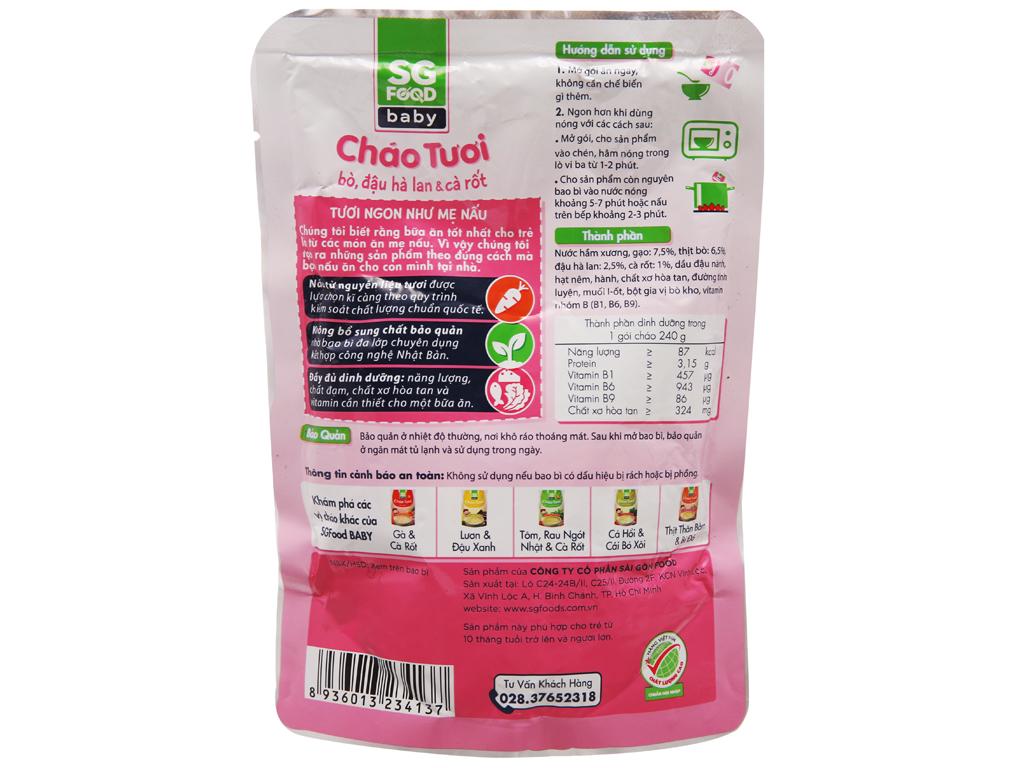 Cháo tươi bò đậu hà lan cà rốt SG Food gói 240g 4