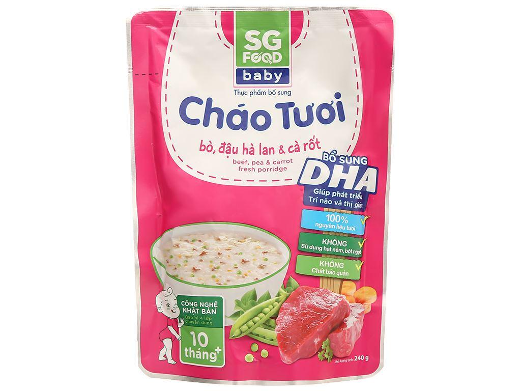 Cháo tươi SG Food Baby bò, đậu Hà Lan và cà rốt gói 240g 1