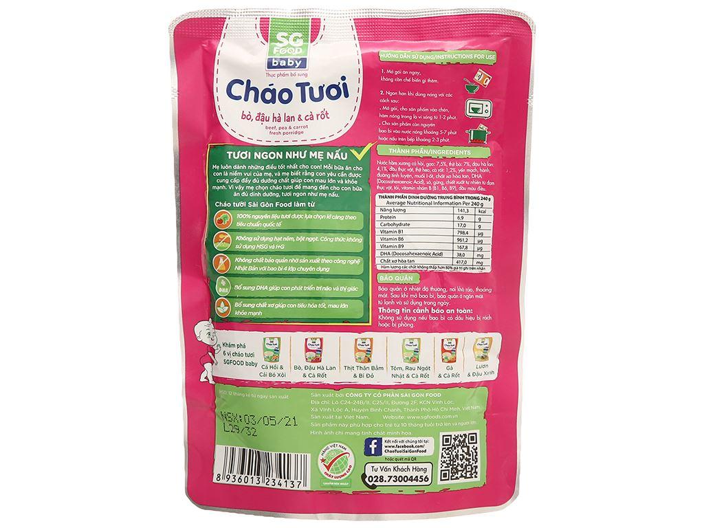 Cháo tươi SG Food Baby bò, đậu Hà Lan và cà rốt gói 240g 2