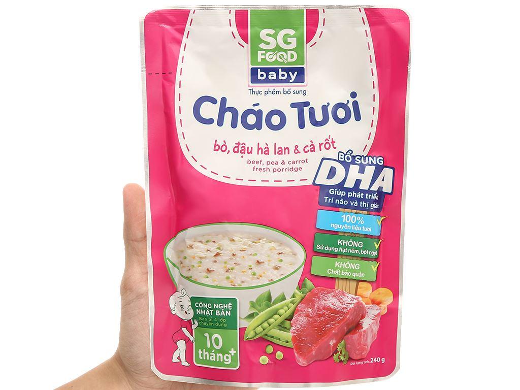 Cháo tươi SG Food Baby bò, đậu Hà Lan và cà rốt gói 240g 4
