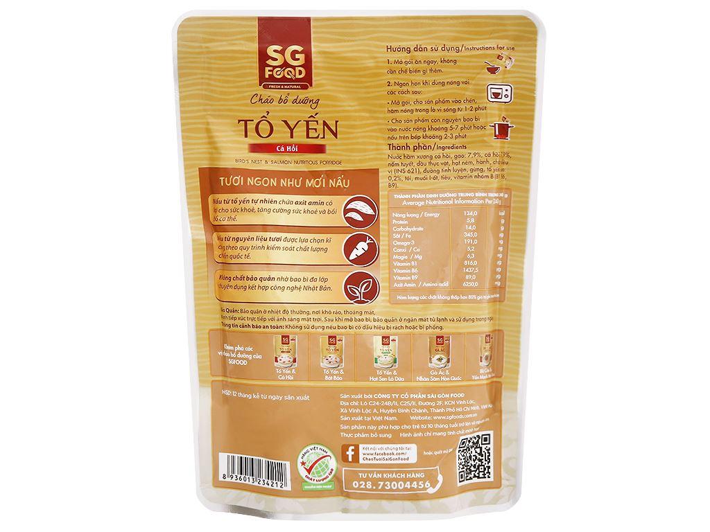 Cháo bổ dưỡng SG Food tổ yến cá hồi gói 240g 2