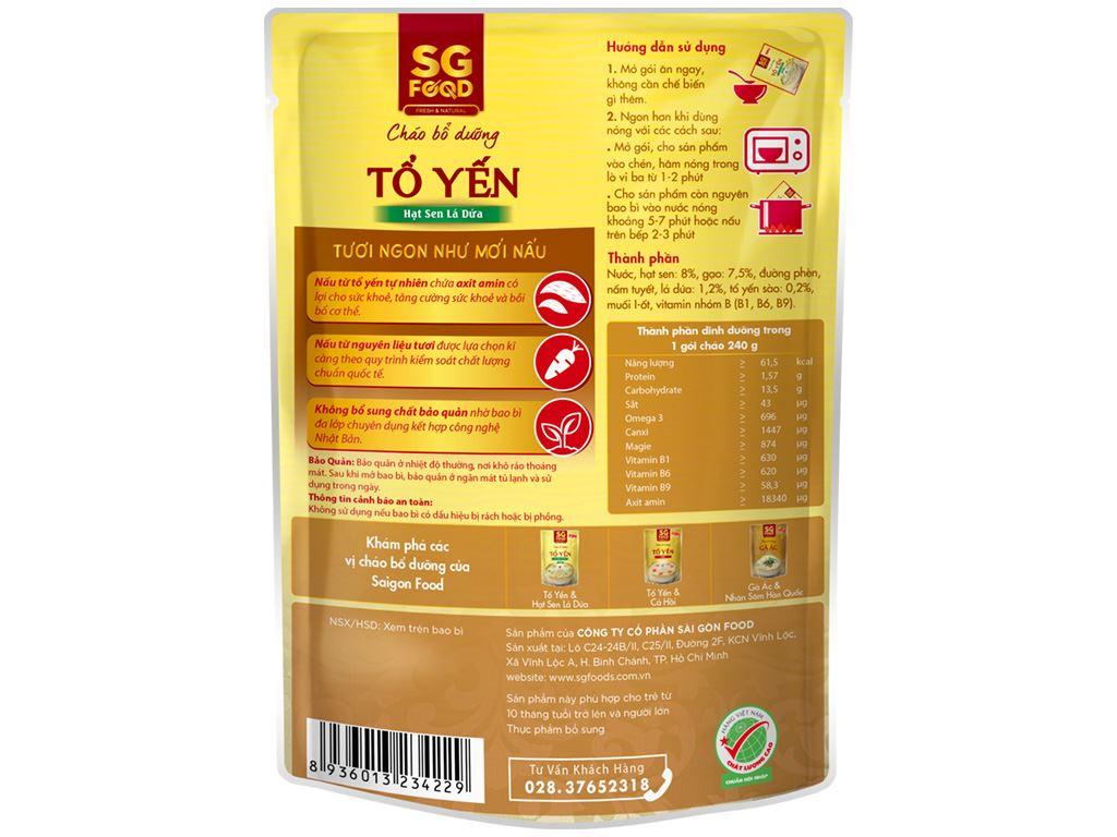 Cháo bổ dưỡng SG Food tổ yến hạt sen lá dứa gói 240g 2