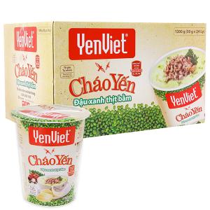 Thùng 24 ly cháo yến đậu xanh thịt bằm Yến Việt 50g