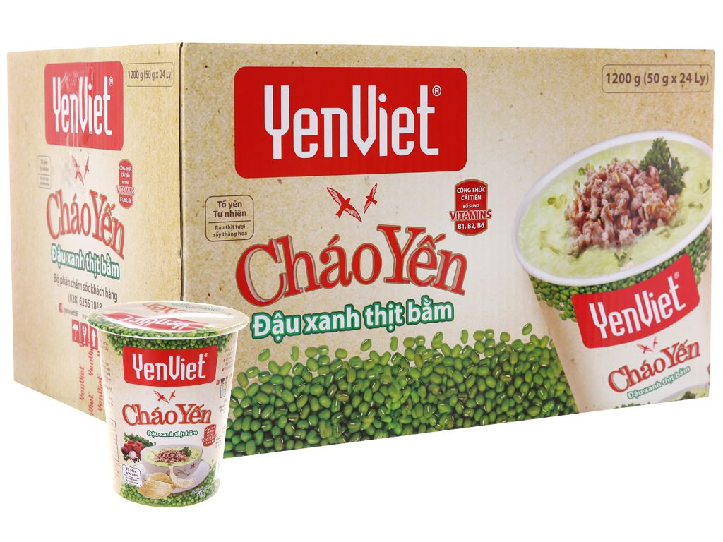 Thùng 24 ly cháo yến Yến Việt đậu xanh thịt bằm 50g 2