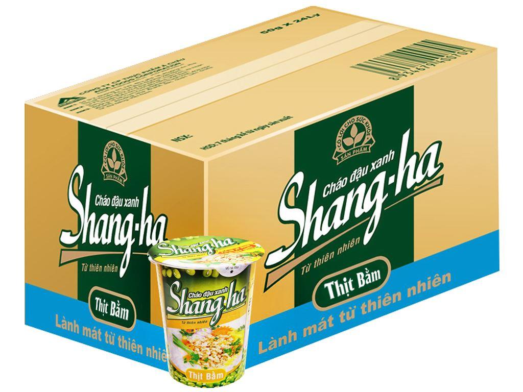 Thùng 24 ly cháo đậu xanh thịt bằm Shangha 50g 1