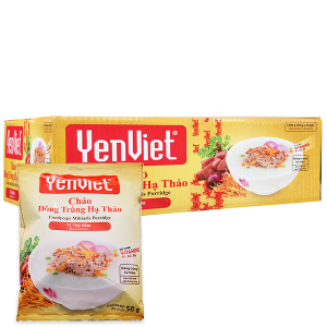 Thùng 30 gói cháo đông trùng hạ thảo vị thịt bằm Yến Việt 50g