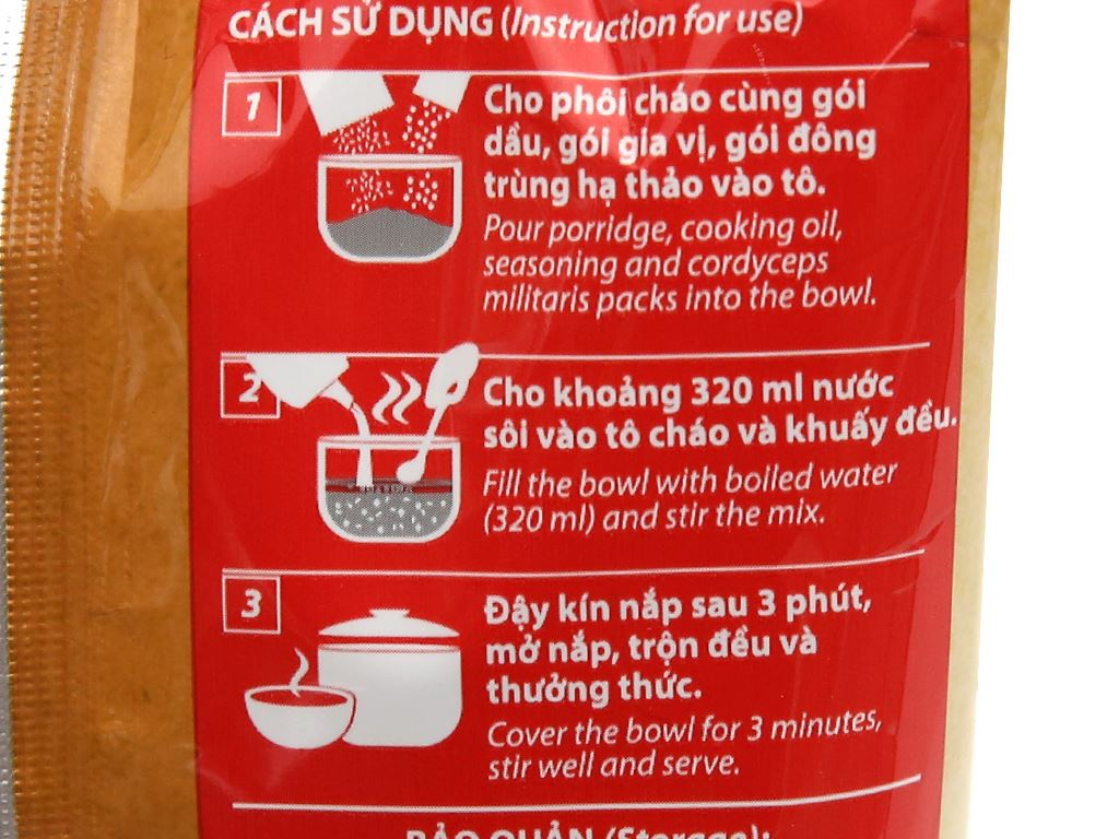 Thùng 30 gói cháo đông trùng hạ thảo vị thịt bằm Yến Việt 50g 9