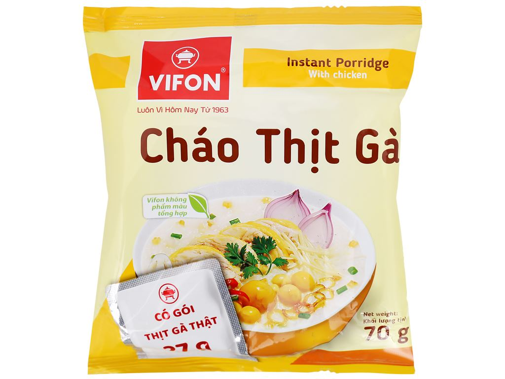 Thùng 50 gói cháo thịt gà Vifon 70g (có gói thịt gà thật) 6