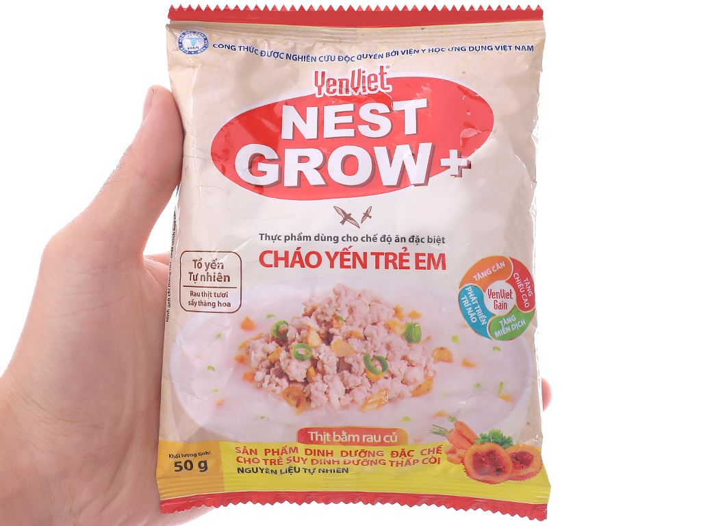 Cháo yến trẻ em Yến Việt Nest Grow+ thịt bằm rau củ gói 50g 3