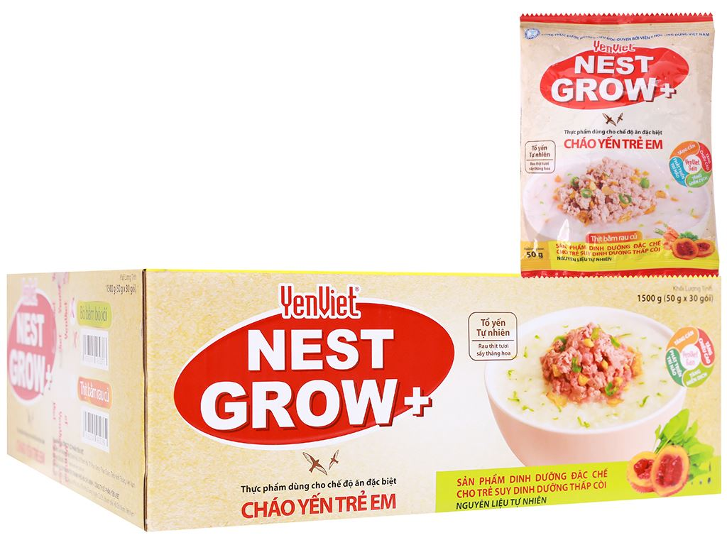 Thùng 30 gói cháo yến trẻ em thịt bằm rau củ Yến Việt Nest Grow+ 50g 1