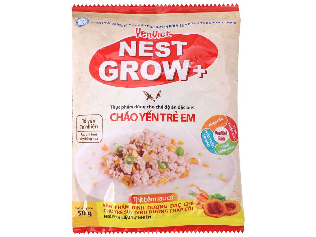 Thùng 30 gói cháo yến trẻ em thịt bằm rau củ Yến Việt Nest Grow+ 50g 2
