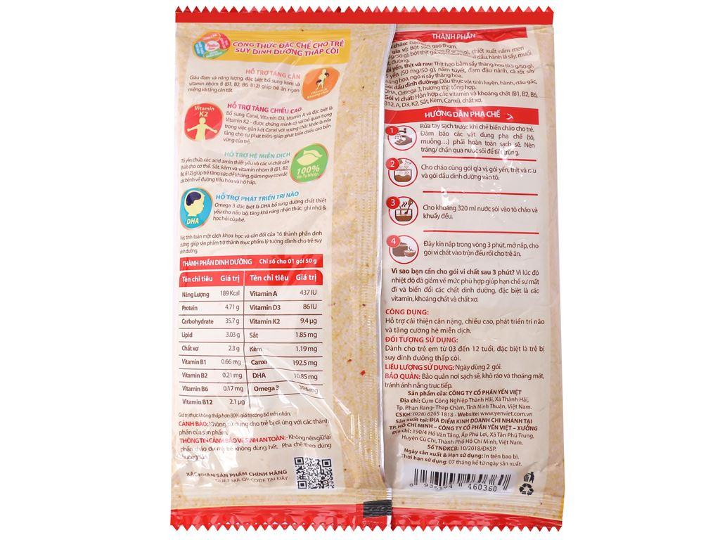 Thùng 30 gói cháo yến trẻ em thịt bằm rau củ Yến Việt Nest Grow+ 50g 3