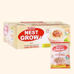 Thùng 30 gói cháo yến trẻ em Yến Việt Nest Grow+ thịt bằm rau củ 50g
