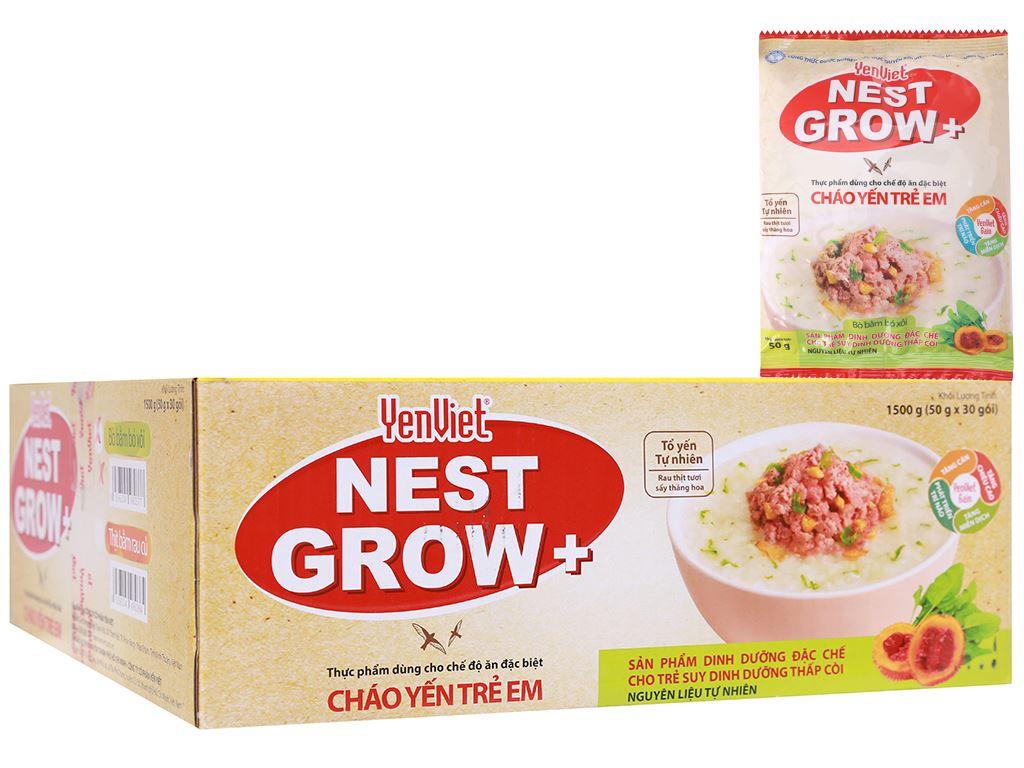 Thùng 30 gói cháo yến trẻ em Yến Việt Nest Grow+ bò bằm bó xôi 50g 1
