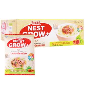 Thùng 30 gói cháo yến trẻ em Yến Việt Nest Grow+ bò bằm bó xôi 50g