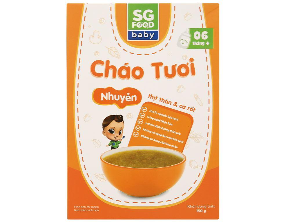 Cháo tươi trẻ em SG Food nhuyễn thịt thăn cà rốt hộp 150g 1