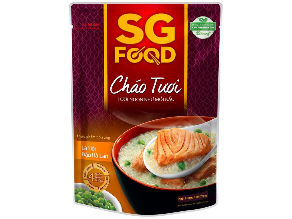 Cháo tươi SG Food cá hồi đậu Hà Lan gói 270g 1