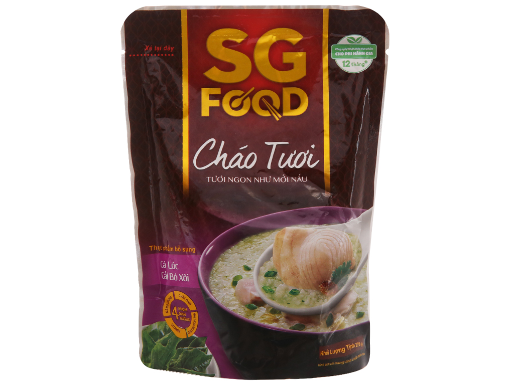 Cháo tươi cá lóc cải bó xôi SG Food gói 270g 2