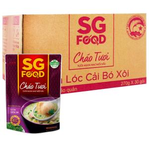 Thùng 30 gói cháo tươi SG Food cá lóc cải bó xôi 270g