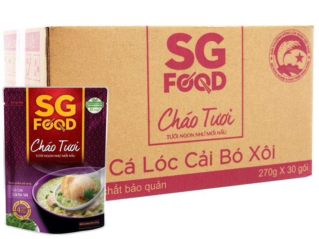 Thùng 30 gói cháo tươi SG Food cá lóc cải bó xôi 270g 1