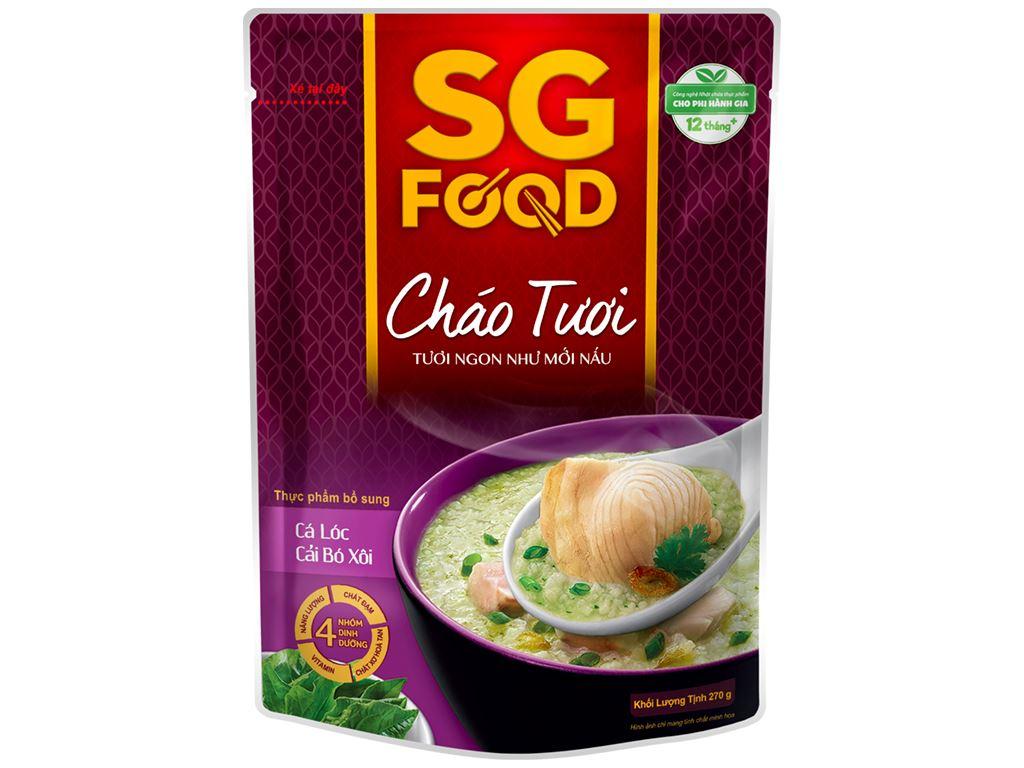 Thùng 30 gói cháo tươi SG Food cá lóc cải bó xôi 270g 2