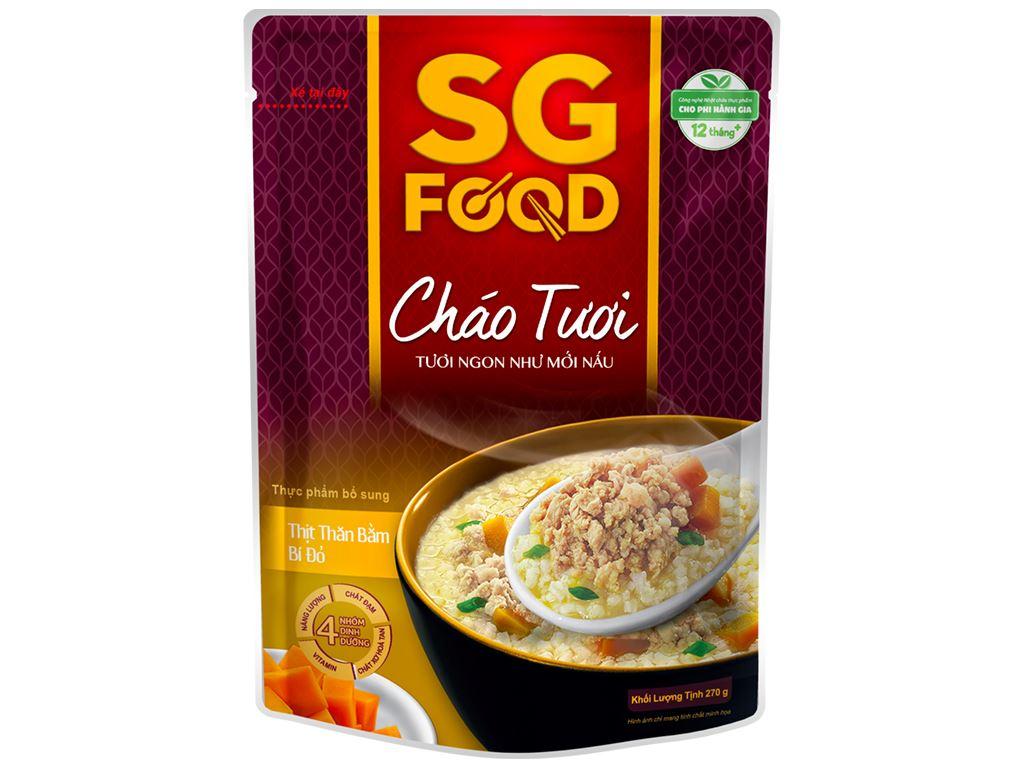 Thùng 30 gói cháo tươi SG Food thịt thăn bằm bí đỏ 270g 2