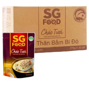 Thùng 30 gói cháo tươi SG Food thịt thăn bằm bí đỏ 270g