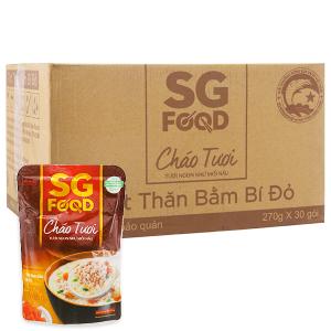 Thùng 30 gói cháo tươi thịt thăn bằm bí đỏ SG Food 270g