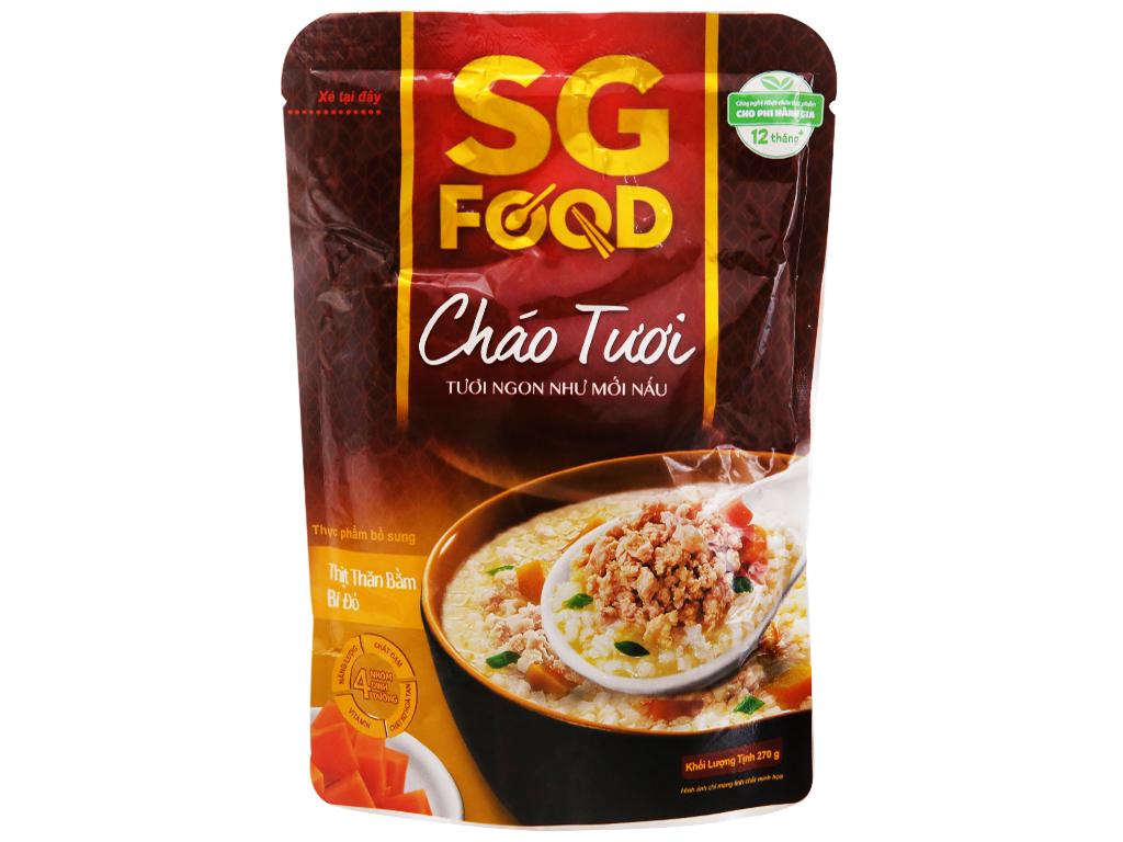 Thùng 30 gói cháo tươi thịt thăn bằm bí đỏ SG Food 270g 2