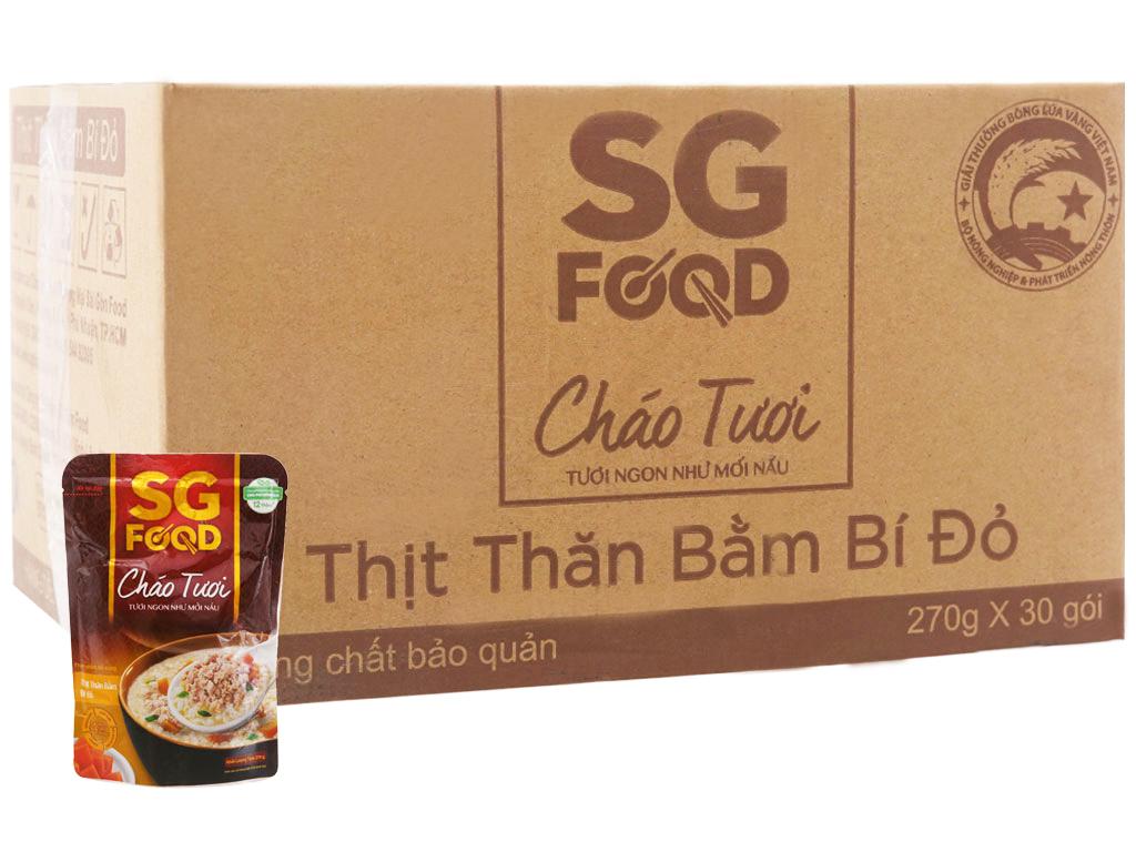 Thùng 30 gói cháo tươi thịt thăn bằm bí đỏ SG Food 270g 1