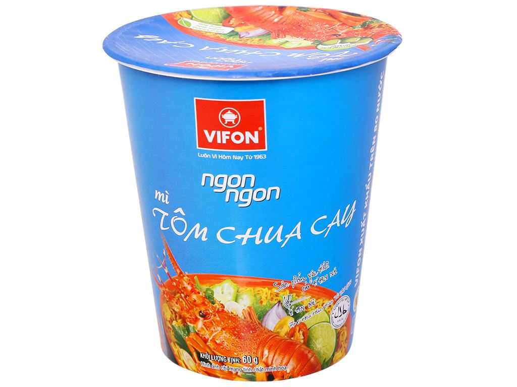 Mì Vifon Ngon Ngon tôm chua cay ly 60g 4