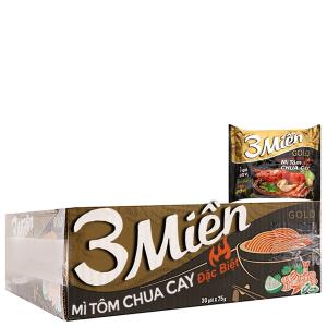 Thùng 30 gói Mì 3 Miền Gold tôm chua cay đặc biệt 75g