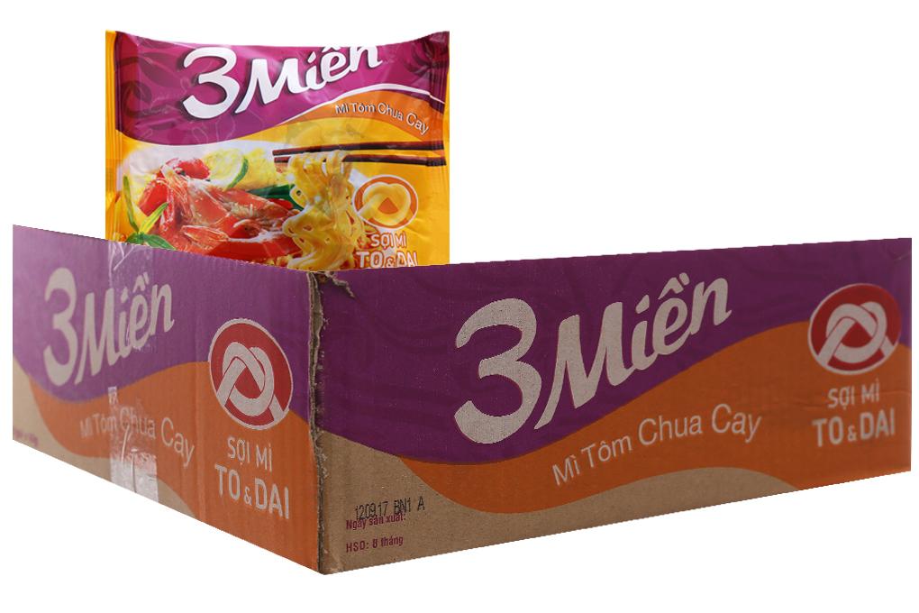 Mì 3 Miền tôm chua cay gói 60g (thùng 24 gói)