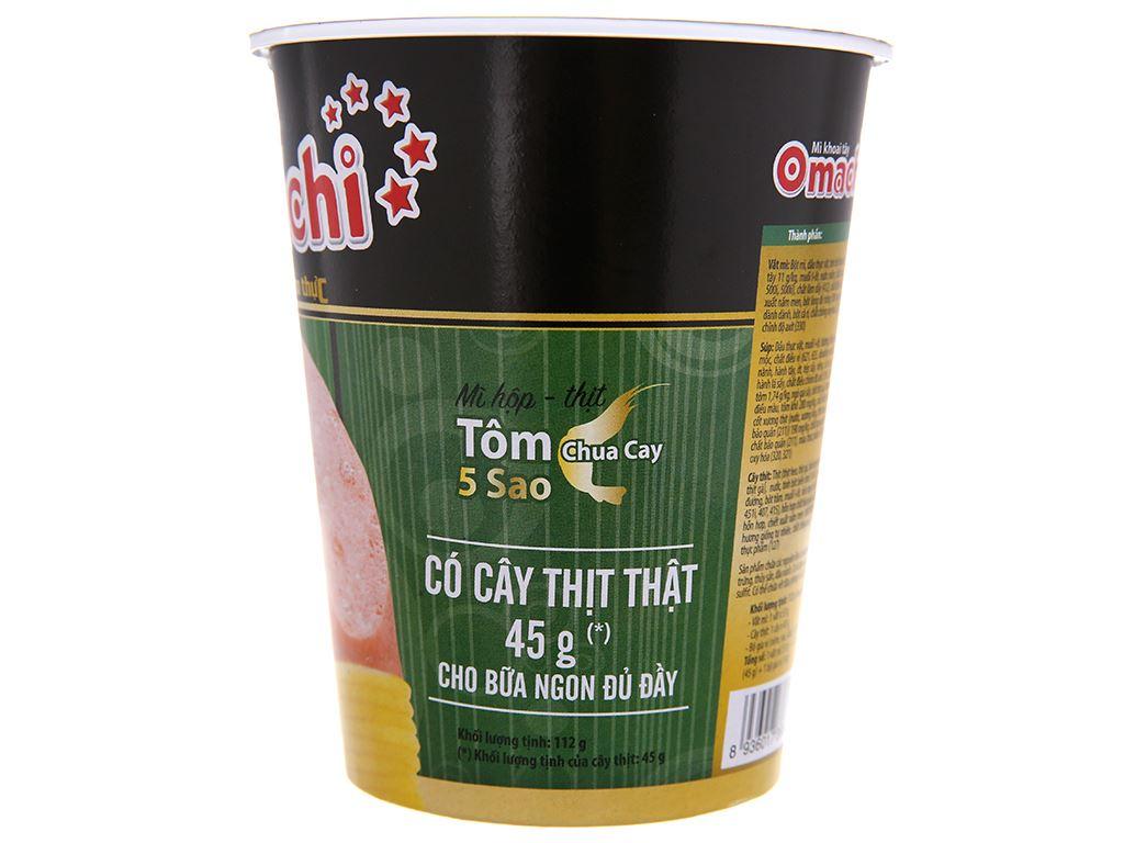 Mì khoai tây Omachi tôm chua cay có cây thịt thật ly 112g 4
