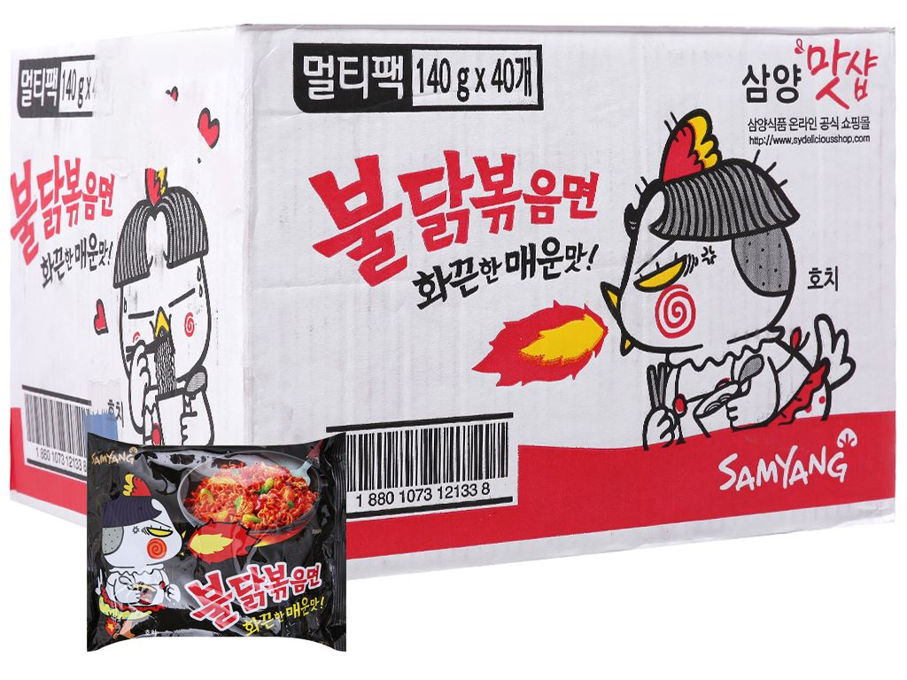 Thùng 40 gói mì khô gà cay Samyang 140g 2