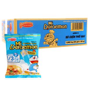 Thùng 30 gói mì Doraemon hương vị bò cuộn phô mai 62g