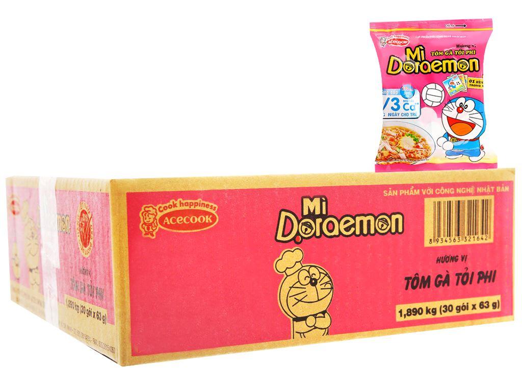 Thùng 30 gói mì Doraemon tôm gà tỏi phi 63g 1