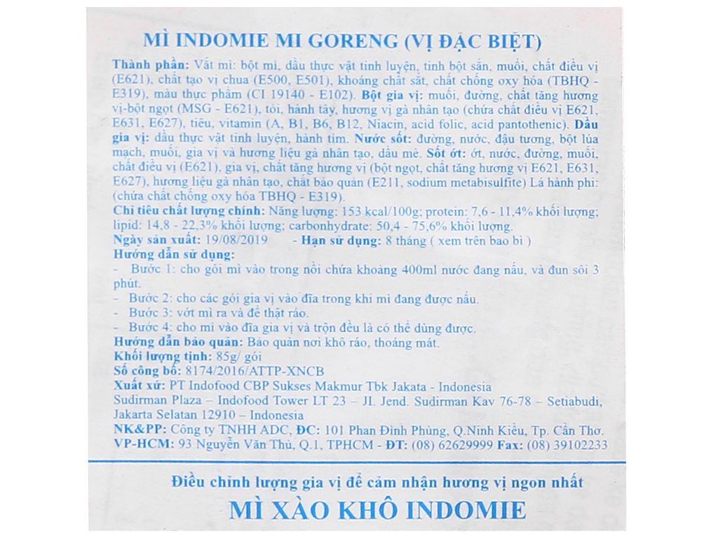 Thùng 40 gói mì xào khô Indomie Mi Goreng vị đặc biệt 85g 7