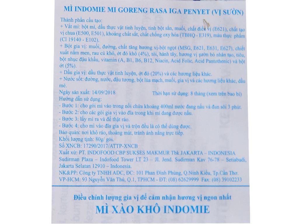 Thùng 40 gói mì xào khô Indomie Mi Goreng Rasa Iga Penyet vị sườn 80g 5