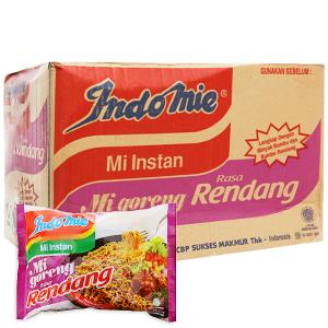 Thùng 40 gói Mì xào khô Indomie Goreng Rendang bò cay 91g
