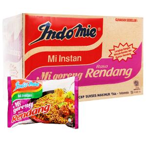 Thùng 40 gói mì xào khô Indomie Mi Goreng Rasa Rendang vị bò cay 91g